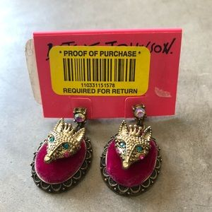 BETSEY JOHNSON Fox Earrings